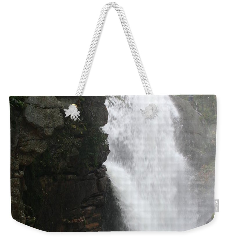 Waterfall Weekender Tote Bag featuring the photograph Flume Gorge Waterfall In Autumn by Christiane Schulze Art And Photography