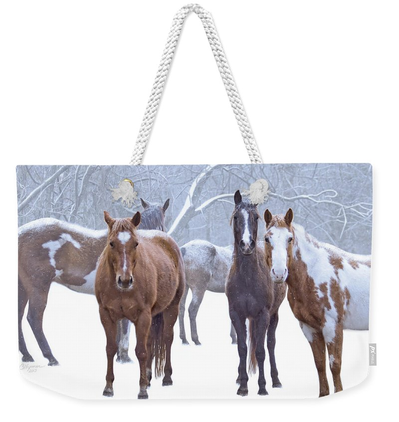 Horses Weekender Tote Bag featuring the digital art Flurries by Barbara Hymer