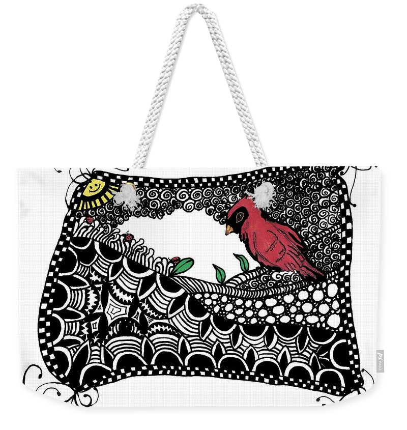 Cardinal Weekender Tote Bag featuring the painting Fly Away Home by Terry Fleckney