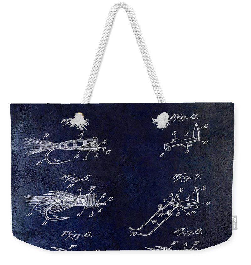 Fly Fishing Lure Weekender Tote Bag featuring the photograph 1922 Fly Fishing Lure Blue by Jon Neidert