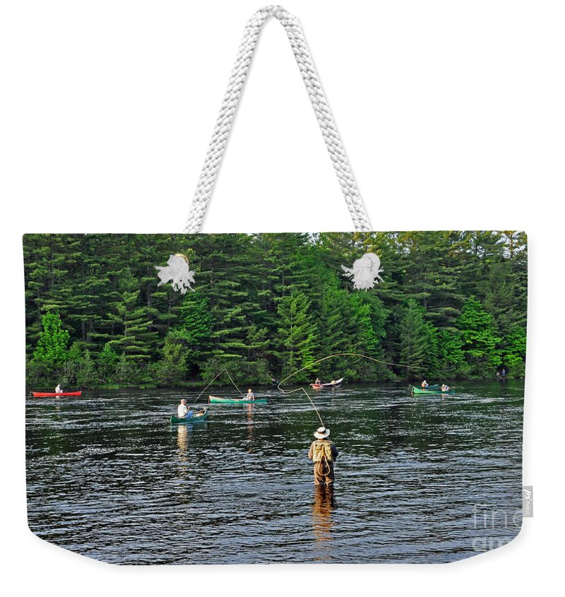Fly Fishing Weekender Tote Bag featuring the photograph Fly Fishing West Penobscot River Maine by Glenn Gordon
