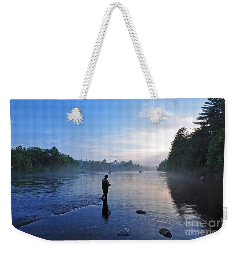 Fly Fishing Weekender Tote Bag featuring the photograph Flyfishing In Maine by Glenn Gordon