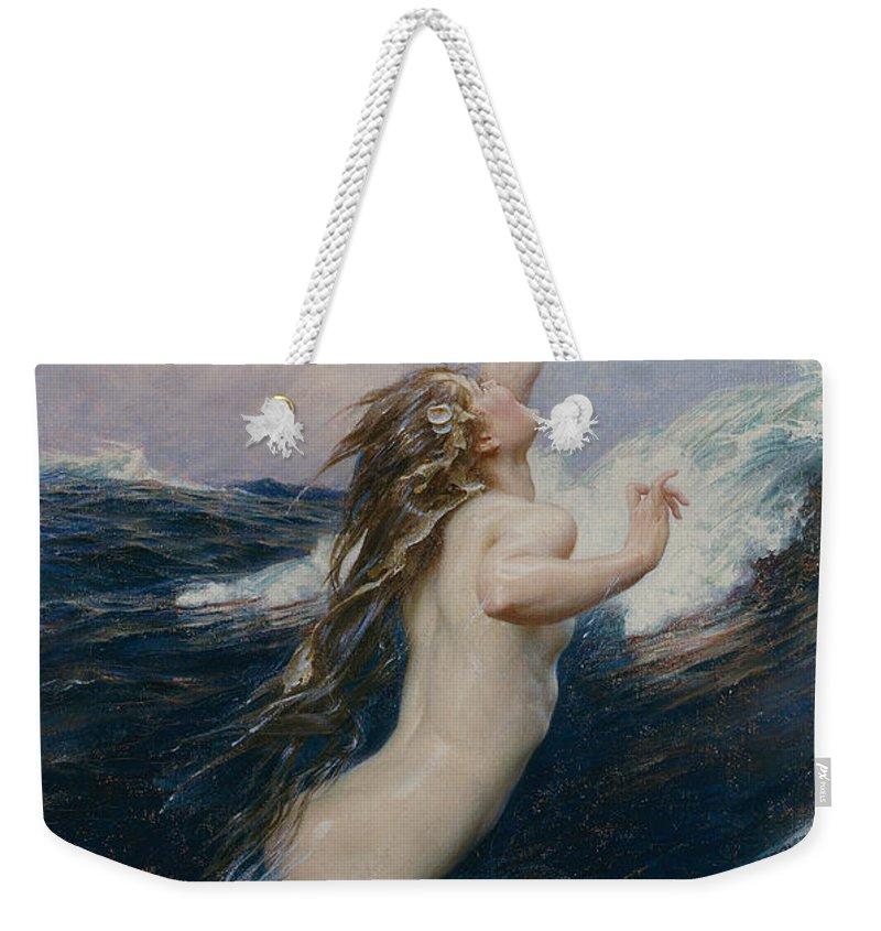Nude Weekender Tote Bag featuring the painting Flying Fish by Herbert James Draper