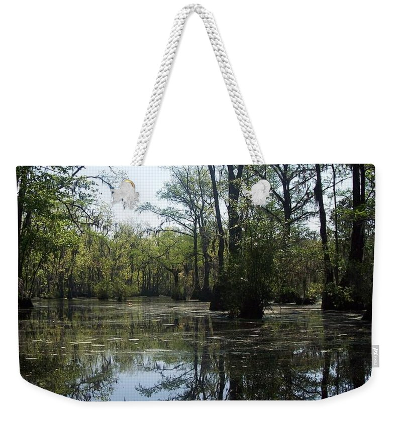 Merchants Millpond Weekender Tote Bag featuring the photograph Flying Through The Mirror by Sandra Clark