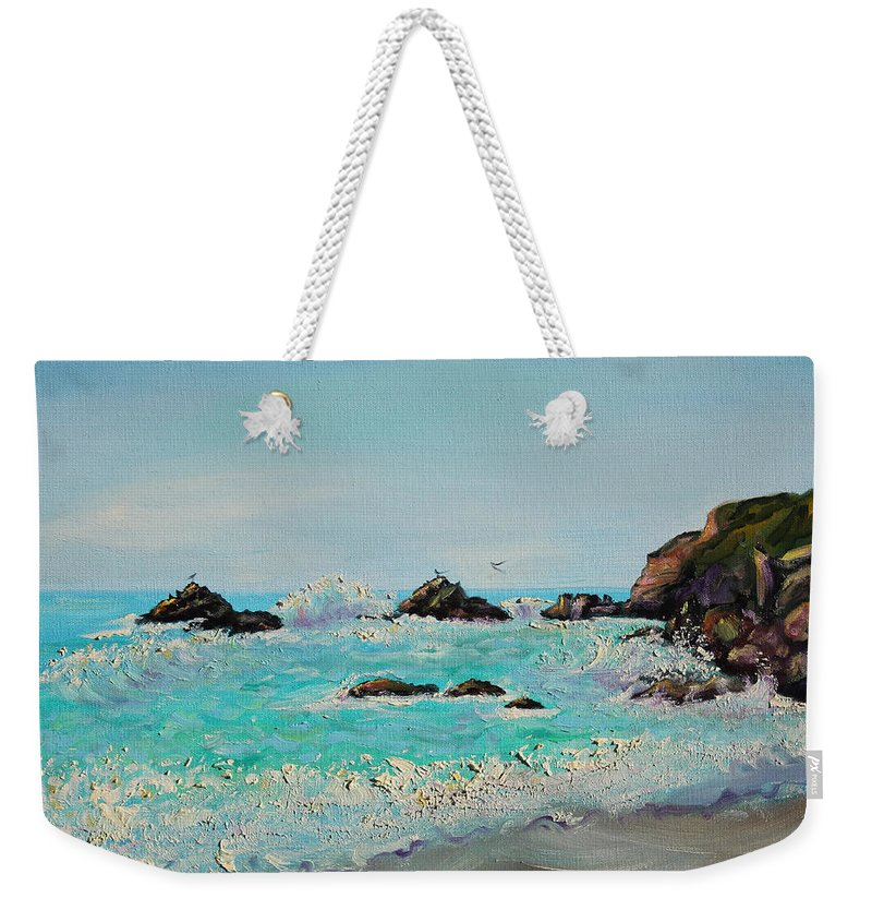 Seascape Painting; Northern California Weekender Tote Bag featuring the painting Foamy Ocean Waves And Sandy Shore by Asha Carolyn Young