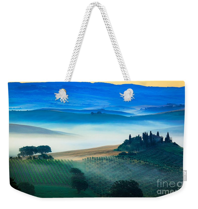 Europe Weekender Tote Bag featuring the photograph Fog In Tuscan Valley by Inge Johnsson