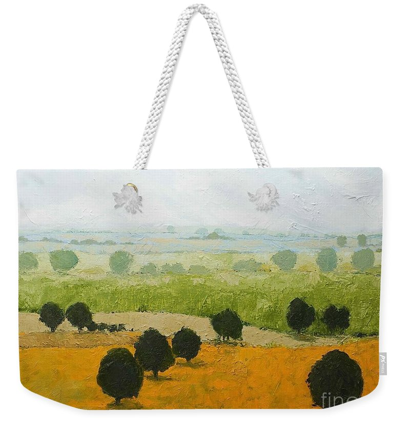 Landscape Weekender Tote Bag featuring the painting Fog Lifting Fast by Allan P Friedlander
