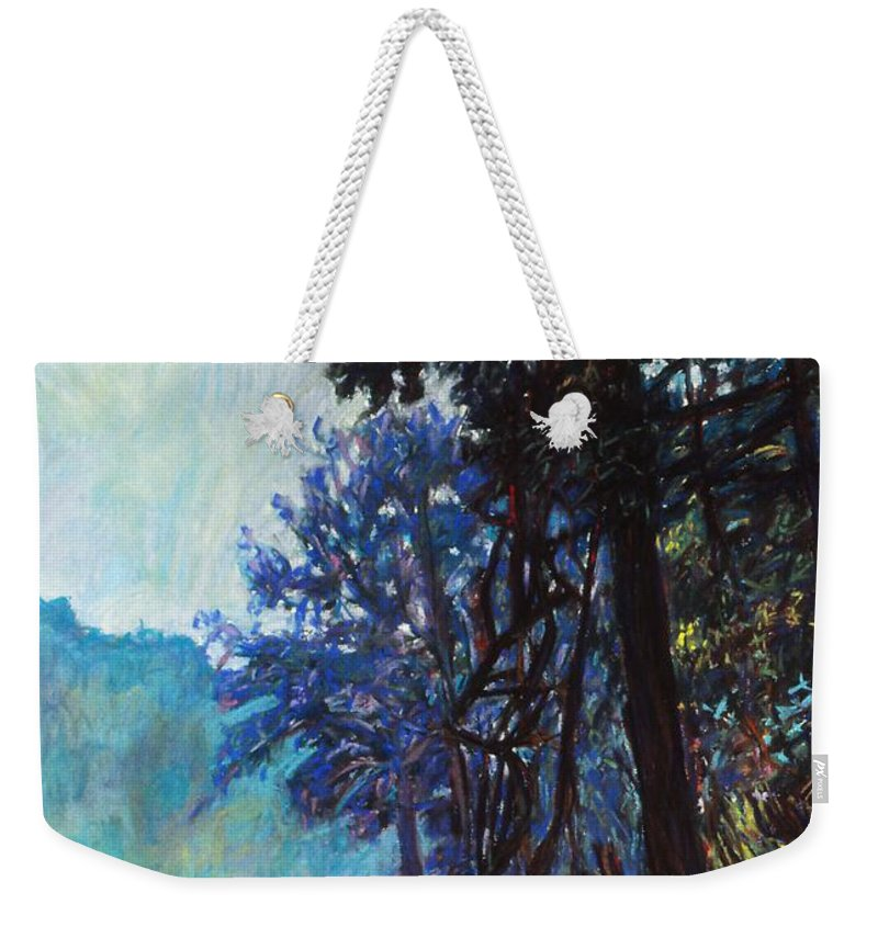 Kendall Kessler Weekender Tote Bag featuring the painting Fog On The New River by Kendall Kessler