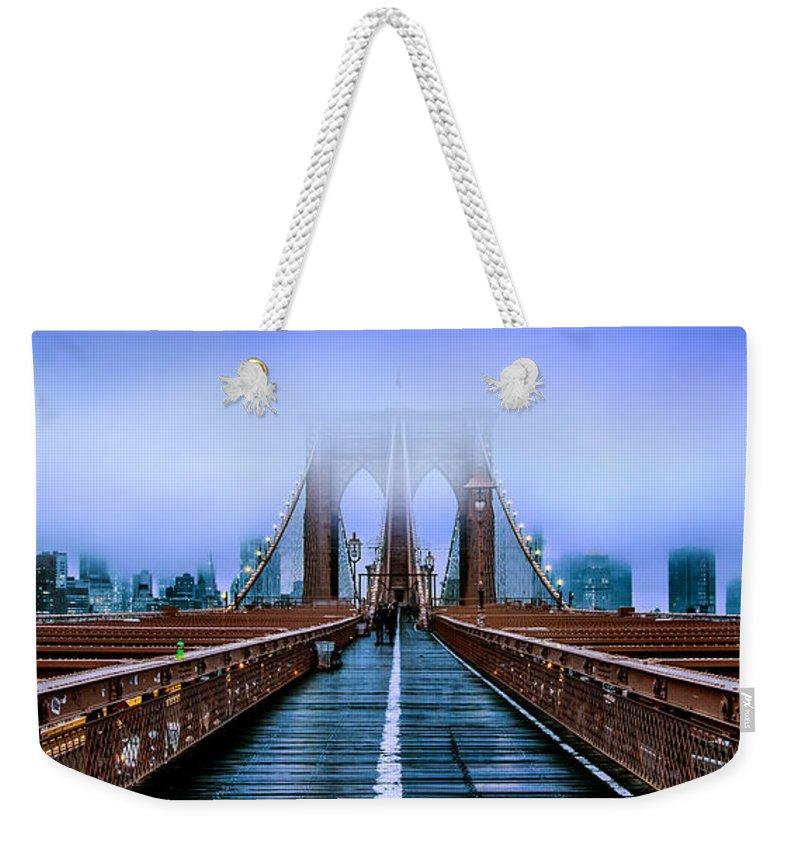 Brooklyn Bridge Weekender Tote Bag featuring the photograph Fog Over The Brooklyn by Az Jackson