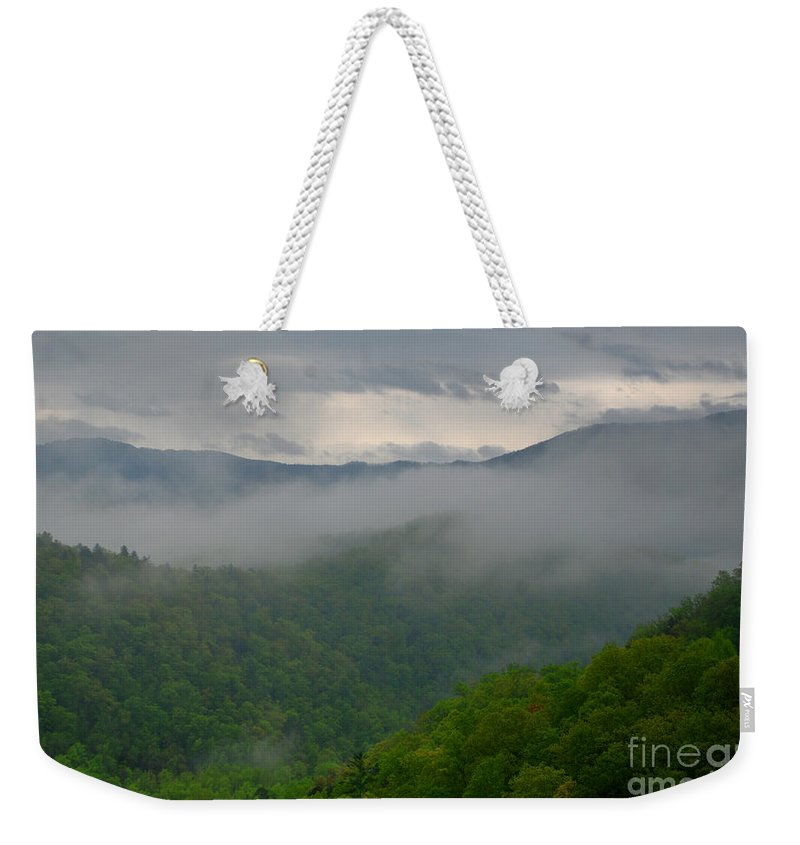 Mountains Weekender Tote Bag featuring the photograph Fog Over The Smokies by Nancy Mueller