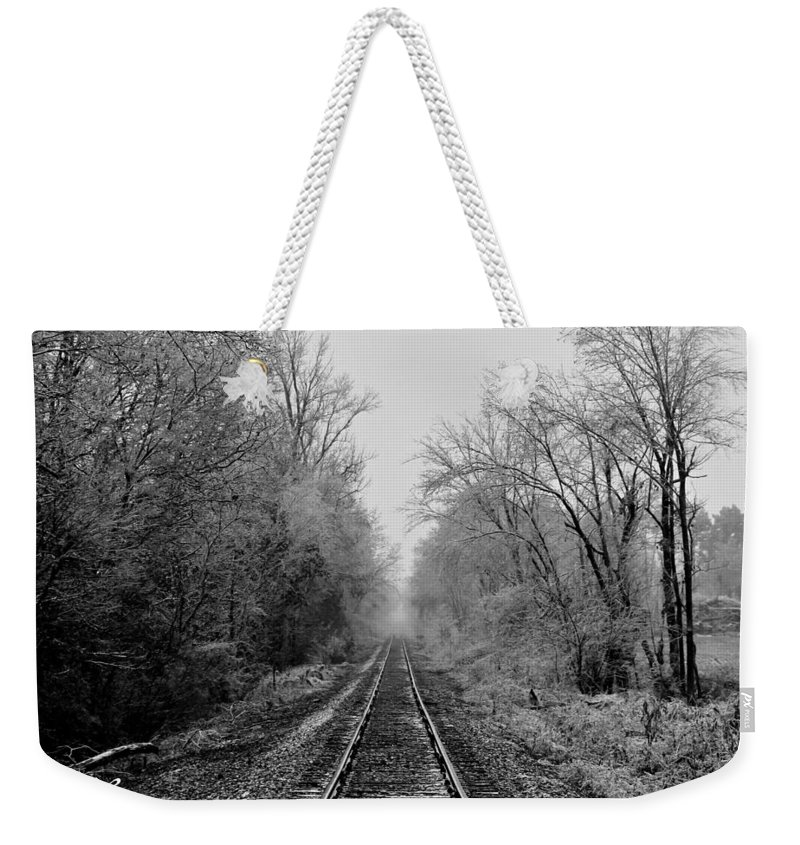 Landscape Weekender Tote Bag featuring the photograph Foggy Ending In Black And White by David Zarecor