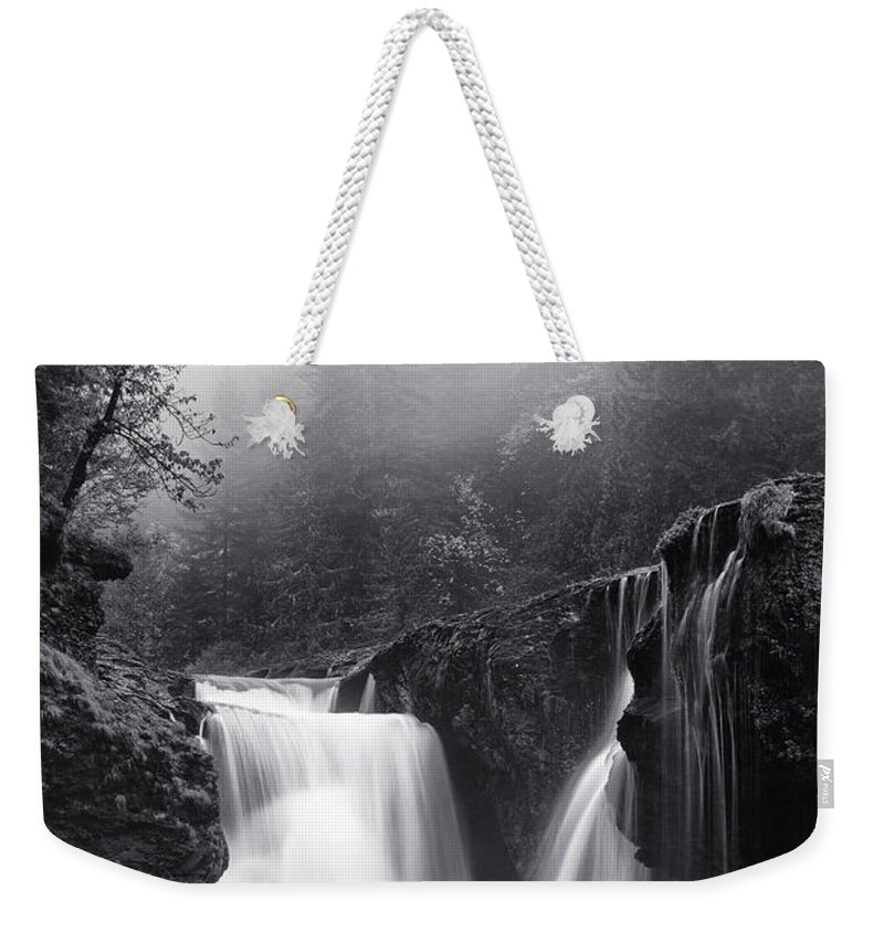 Monochrome Weekender Tote Bag featuring the photograph Foggy Falls by Darren White