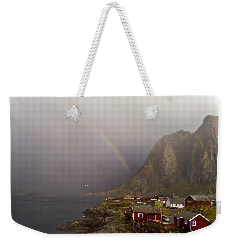 Landscape Weekender Tote Bag featuring the photograph Foggy Hamnoy Rorbu Village by Heiko Koehrer-Wagner