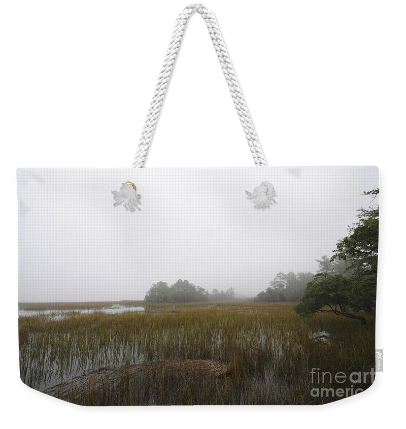 Fog Weekender Tote Bag featuring the photograph Foggy Marsh by Dale Powell
