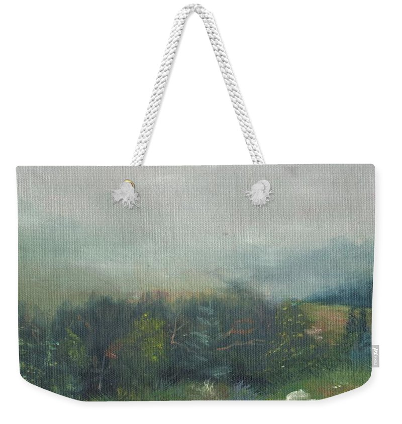 Landscape Weekender Tote Bag featuring the painting Foggy Morning on Cannon by Sharon E Allen