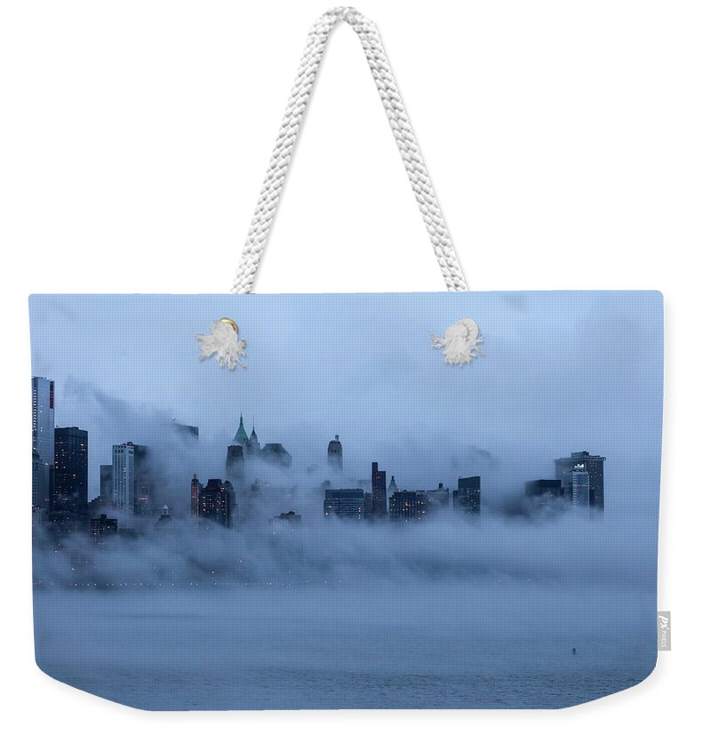Dawn Weekender Tote Bag featuring the photograph Foggy New York City by Laverrue Was Here