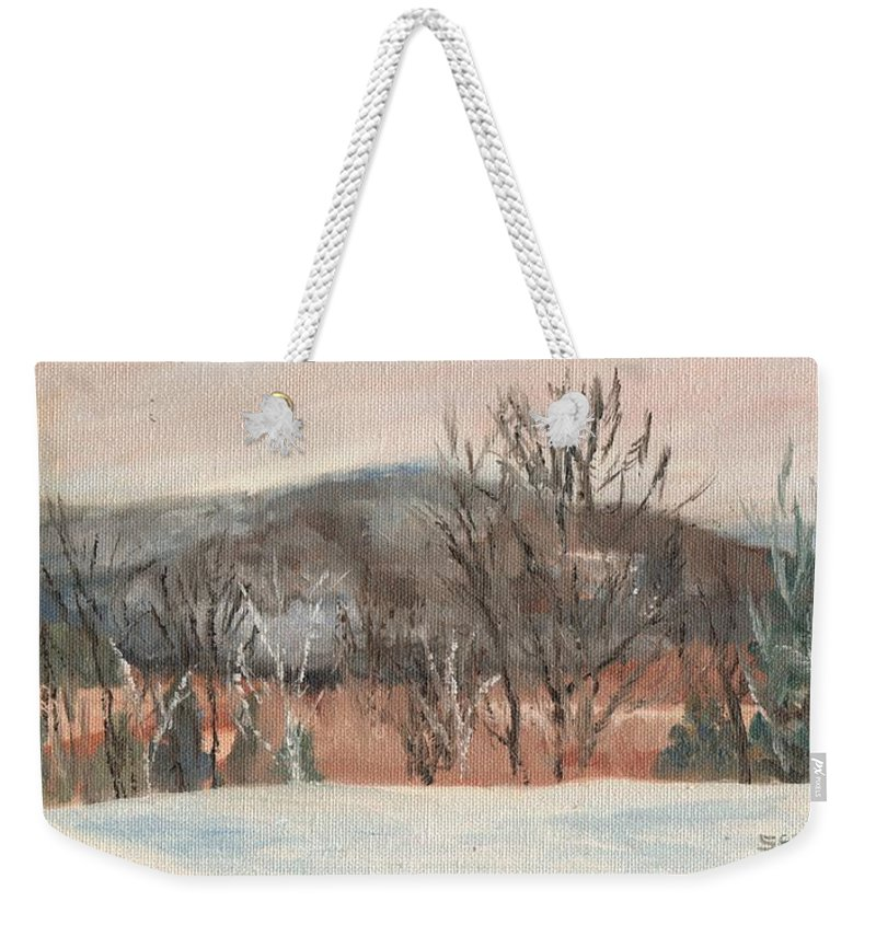 White Mountains Weekender Tote Bag featuring the painting Foggy Winter Morning in Intervale by Sharon E Allen