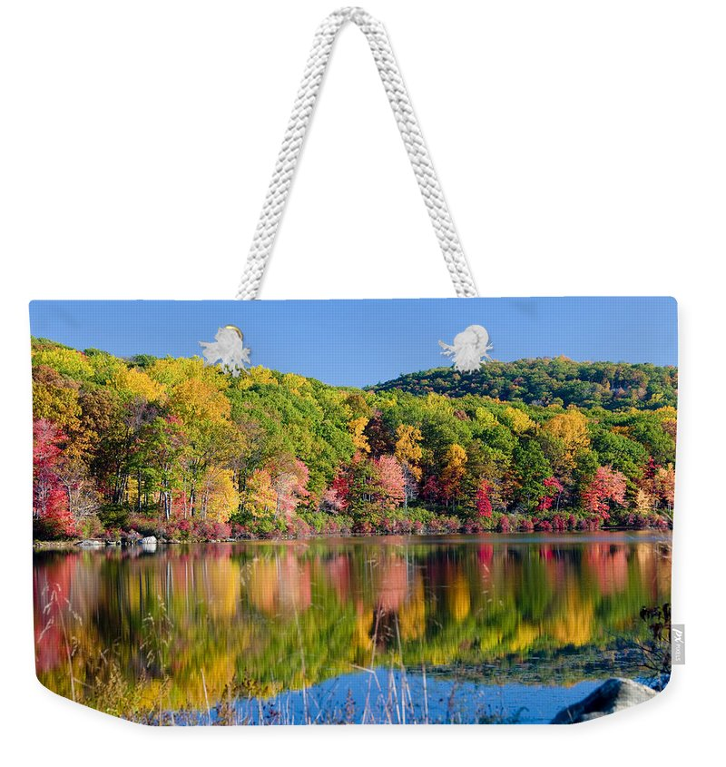 Lake Weekender Tote Bag featuring the photograph Foilage In The Fall by Anthony Sacco