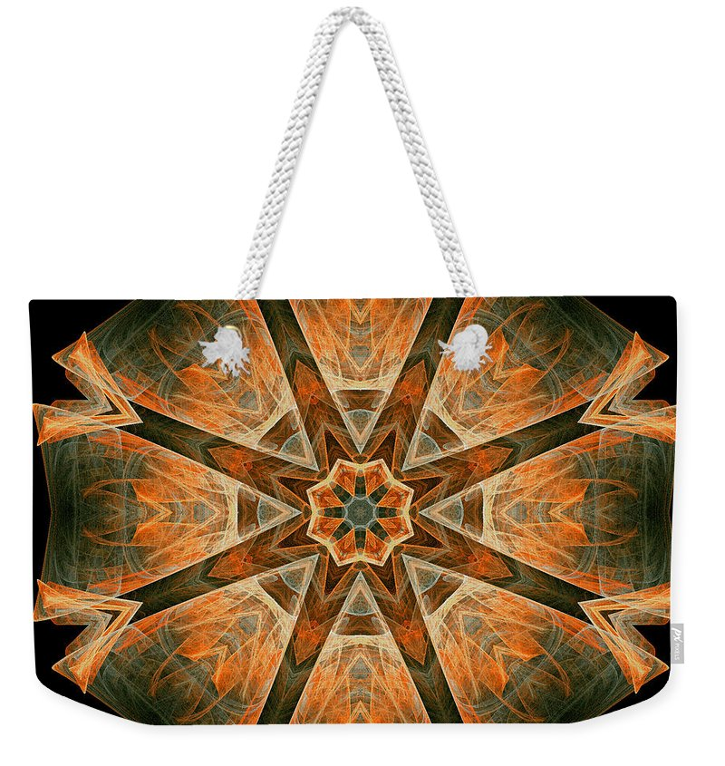 Fractal Weekender Tote Bag featuring the digital art Folded 8-pointed Kaleidoscope Image by Richard Ortolano