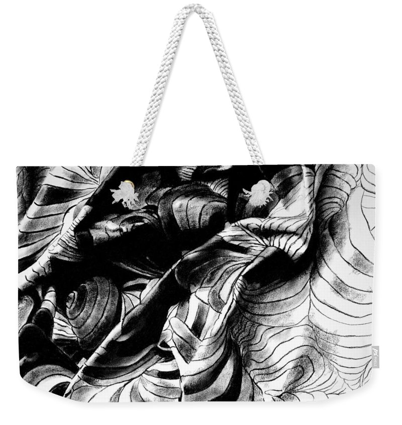 Drawing Weekender Tote Bag featuring the drawing Folding Structure IIi by Iliyan Bozhanov