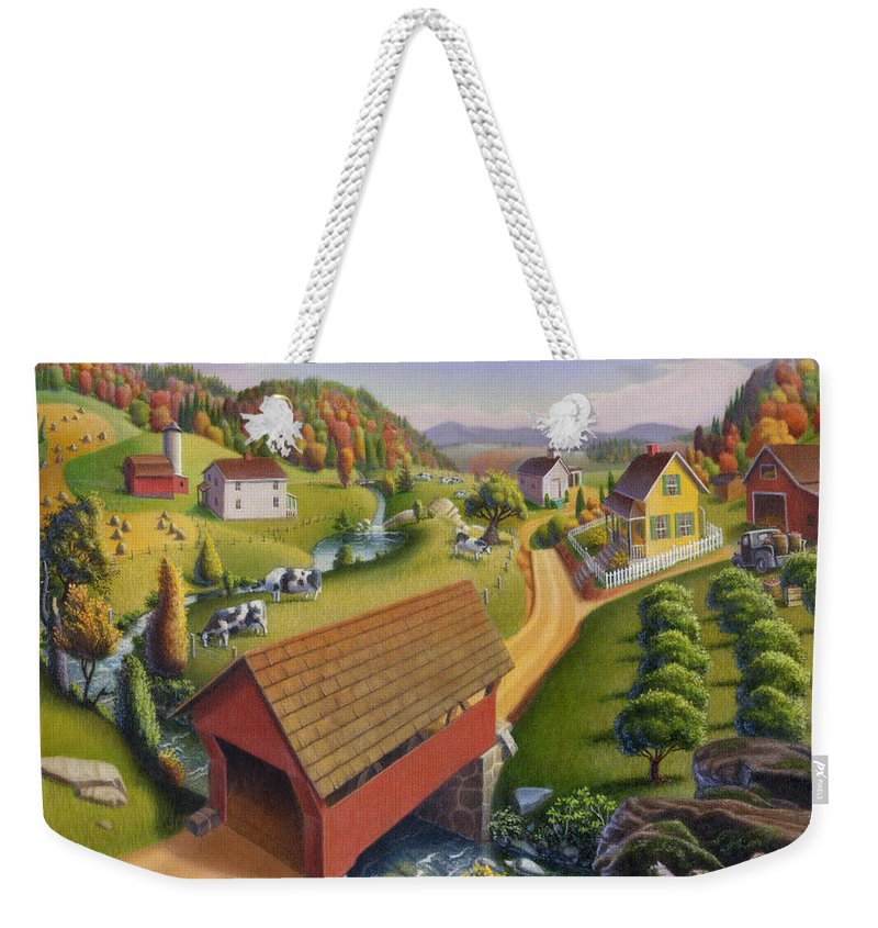 Covered Bridge Weekender Tote Bag featuring the painting Folk Art Covered Bridge Appalachian Country Farm Summer Landscape - Appalachia - Rural Americana by Walt Curlee