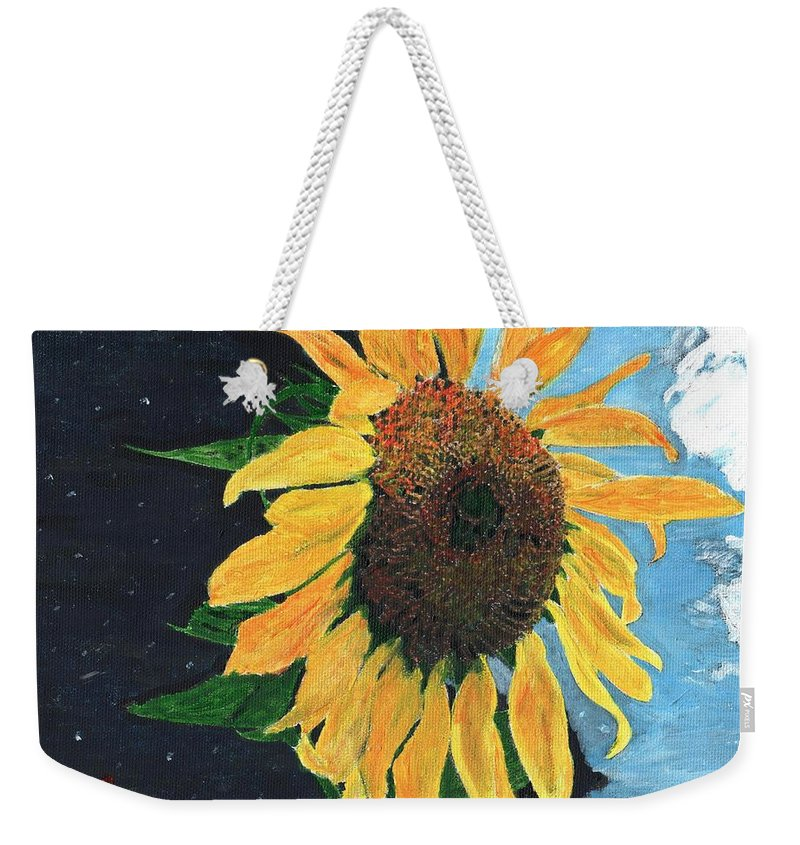 Yellow Weekender Tote Bag featuring the painting Follow The Sun by Cliff Wilson