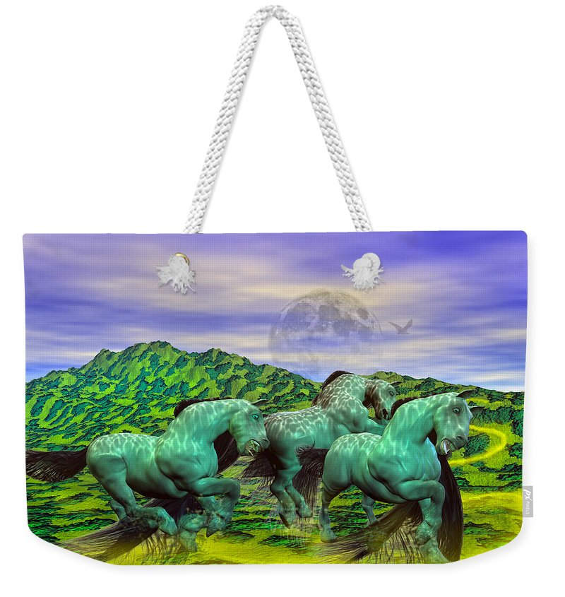 The Weekender Tote Bag featuring the mixed media Follow The Yellow Brick Road by Betsy Knapp