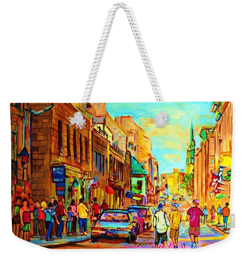 Montreal Weekender Tote Bag featuring the painting Follow The Yellow Brick Road by Carole Spandau