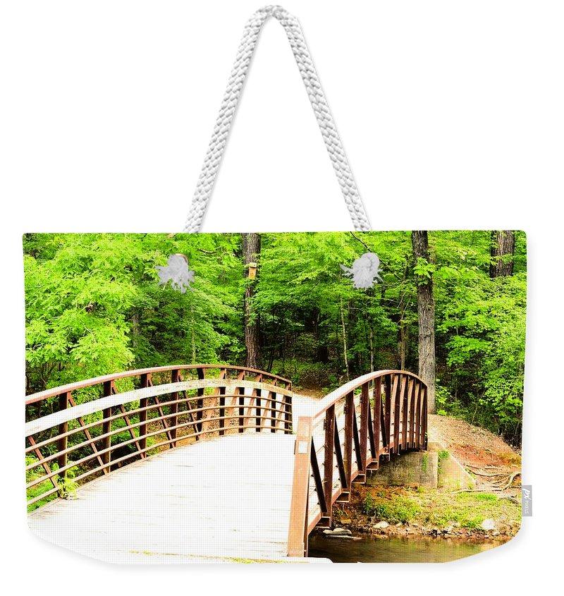 Folsom Bridge 2 Weekender Tote Bag featuring the photograph Folsom Bridge 2 by Maria Urso
