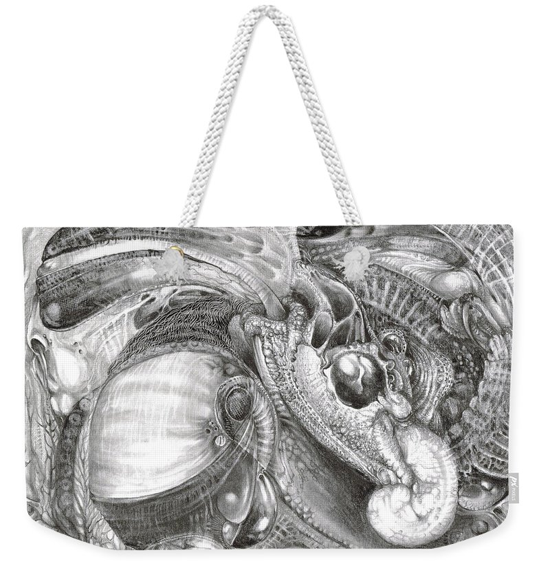 Fomorii Weekender Tote Bag featuring the drawing Fomorii Aliens by Otto Rapp