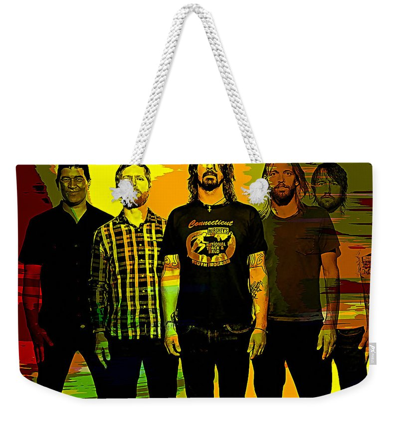 Foo Fighters Paintings Weekender Tote Bag featuring the mixed media Foo Fighters by Marvin Blaine