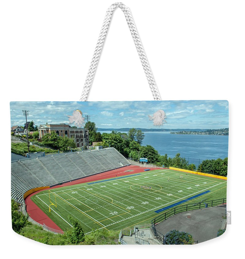 Football Field Weekender Tote Bag featuring the photograph Football Field By The Bay by Tikvah's Hope