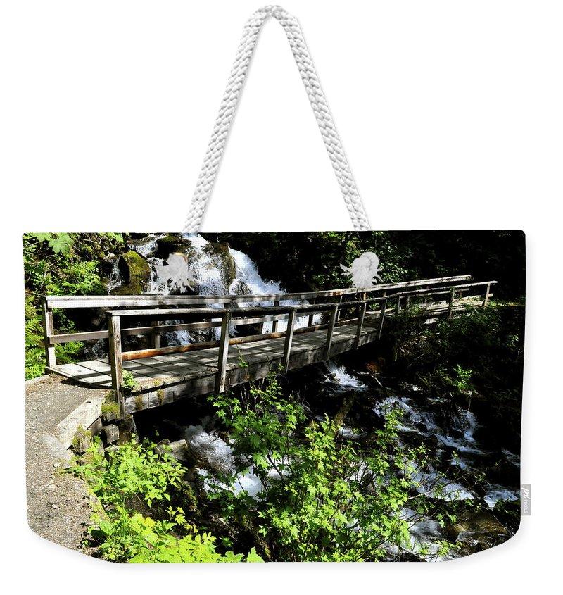 Footbridge Weekender Tote Bag featuring the photograph Footbridge by Cathy Mahnke