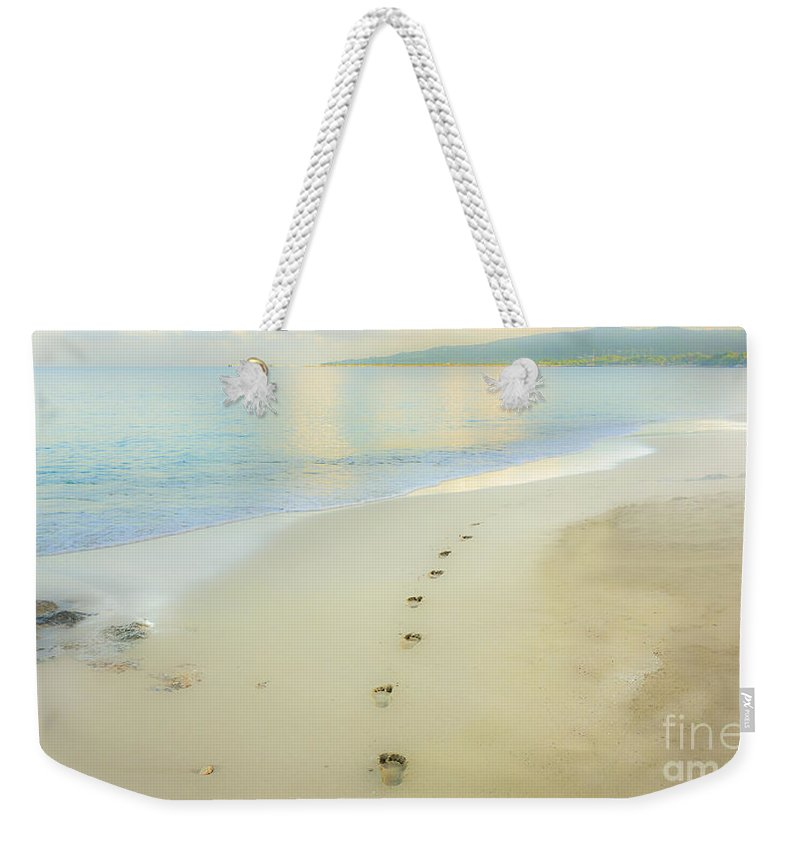 Beach Weekender Tote Bag featuring the photograph Footprints To Nowhere by Betty LaRue
