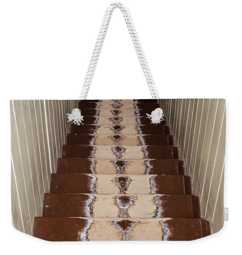 Footsteps On Wooden Stairs Weekender Tote Bag featuring the photograph Footsteps On Wooden Stairs by Debra Martz