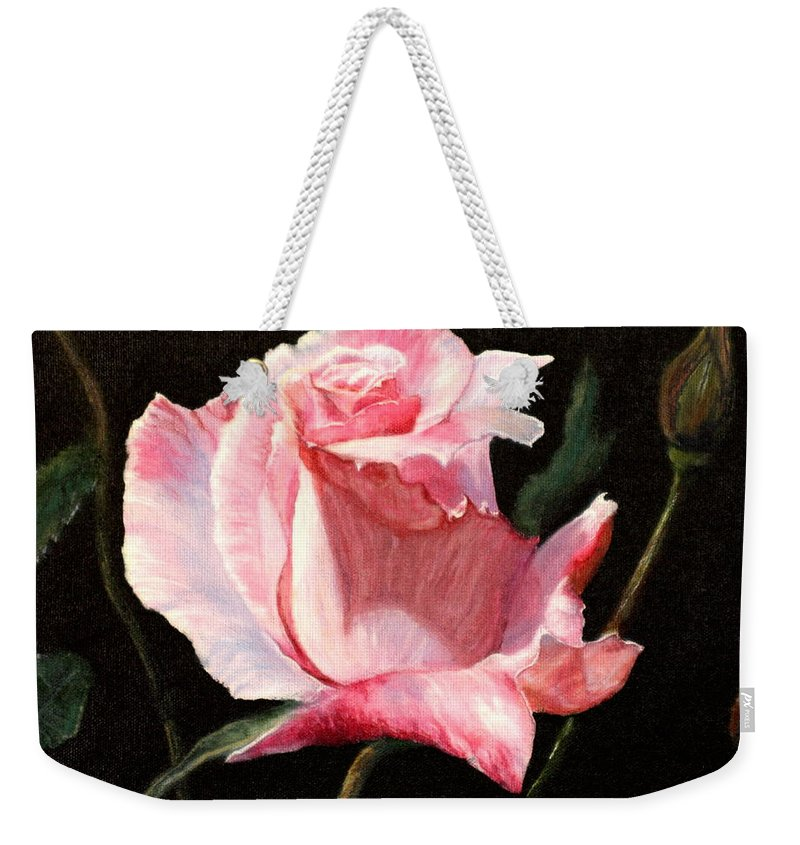 Rose Weekender Tote Bag featuring the painting For A Friend by Jeanette Sthamann