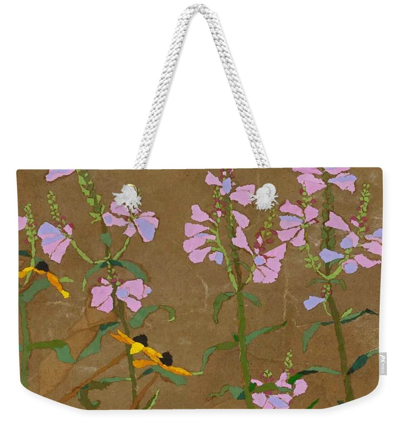 Floral Weekender Tote Bag featuring the painting For Jack From Woodstock by Leah Tomaino