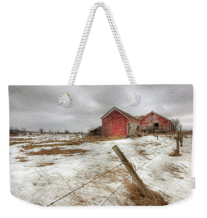 Old Red Barn Weekender Tote Bag featuring the photograph For Sale by Lori Deiter