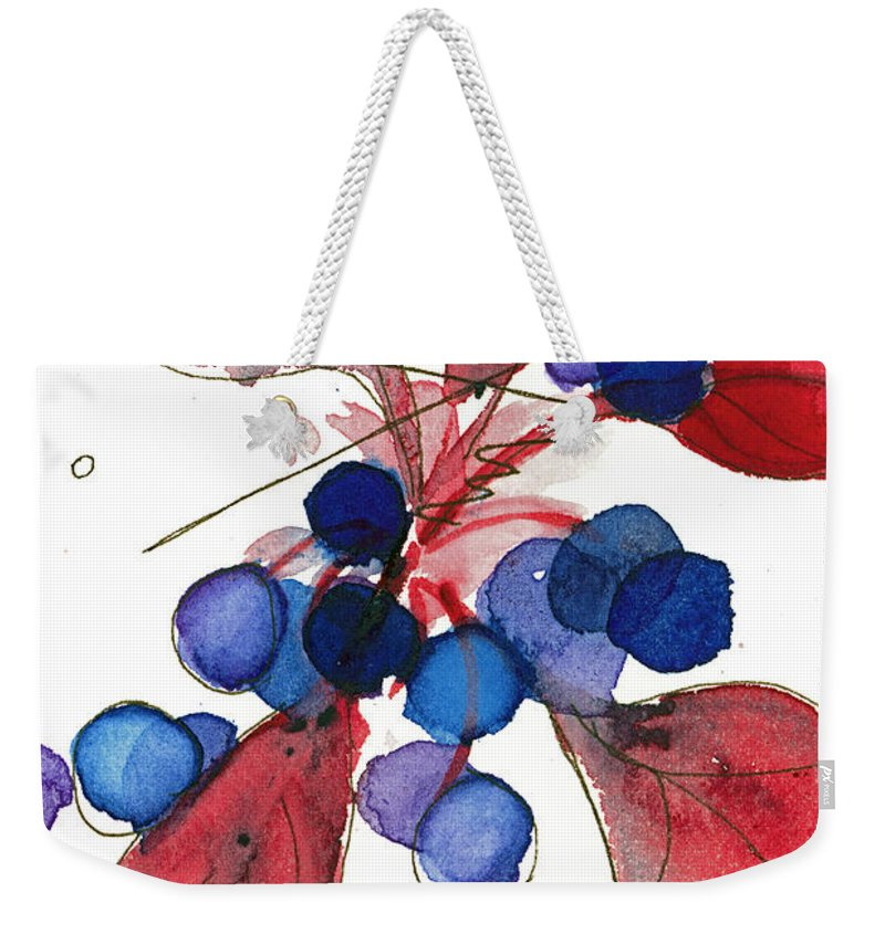 Modern Botanical Art Weekender Tote Bag featuring the painting For The Birds by Dawn Derman