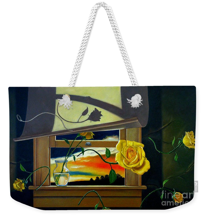 Flower Weekender Tote Bag featuring the painting For You by Christopher Shellhammer