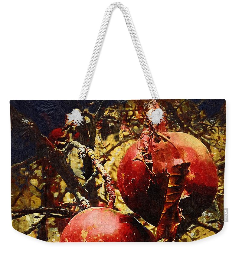 Apples Weekender Tote Bag featuring the painting Forbidden Fruit by RC DeWinter