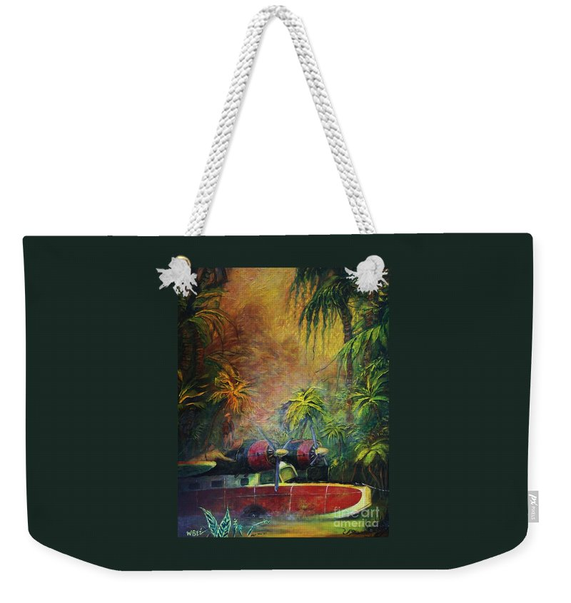 Aircraft Weekender Tote Bag featuring the painting Forced Landing by William Bezik