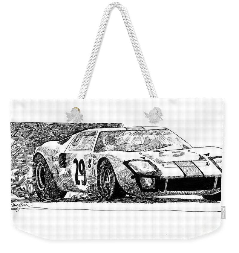 Automotive Weekender Tote Bag featuring the drawing Ford Gt - 40 by David Lloyd Glover