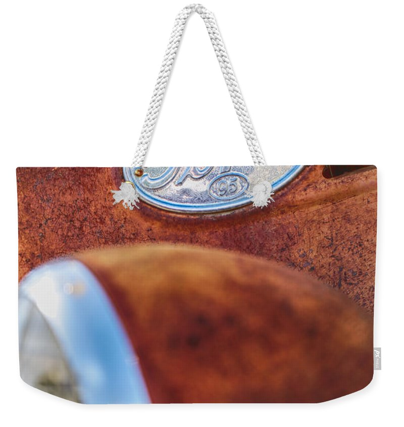 Ford Weekender Tote Bag featuring the photograph Ford Panel by Erika Weber
