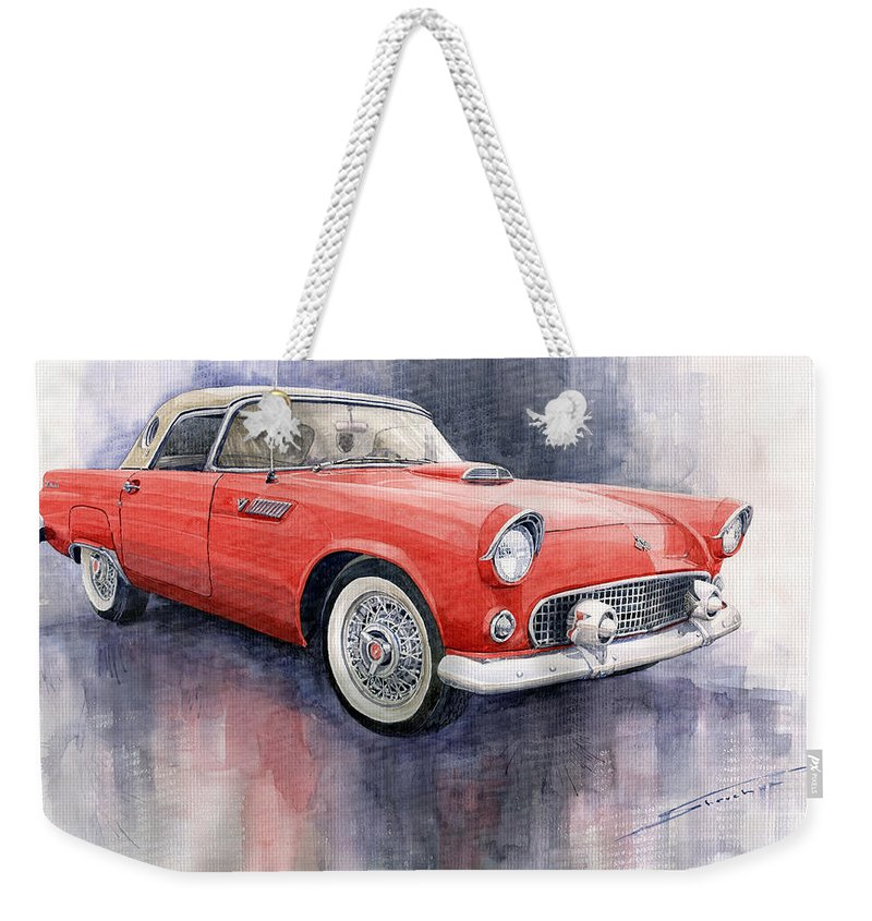 Watercolor Weekender Tote Bag featuring the painting Ford Thunderbird 1955 Red by Yuriy Shevchuk