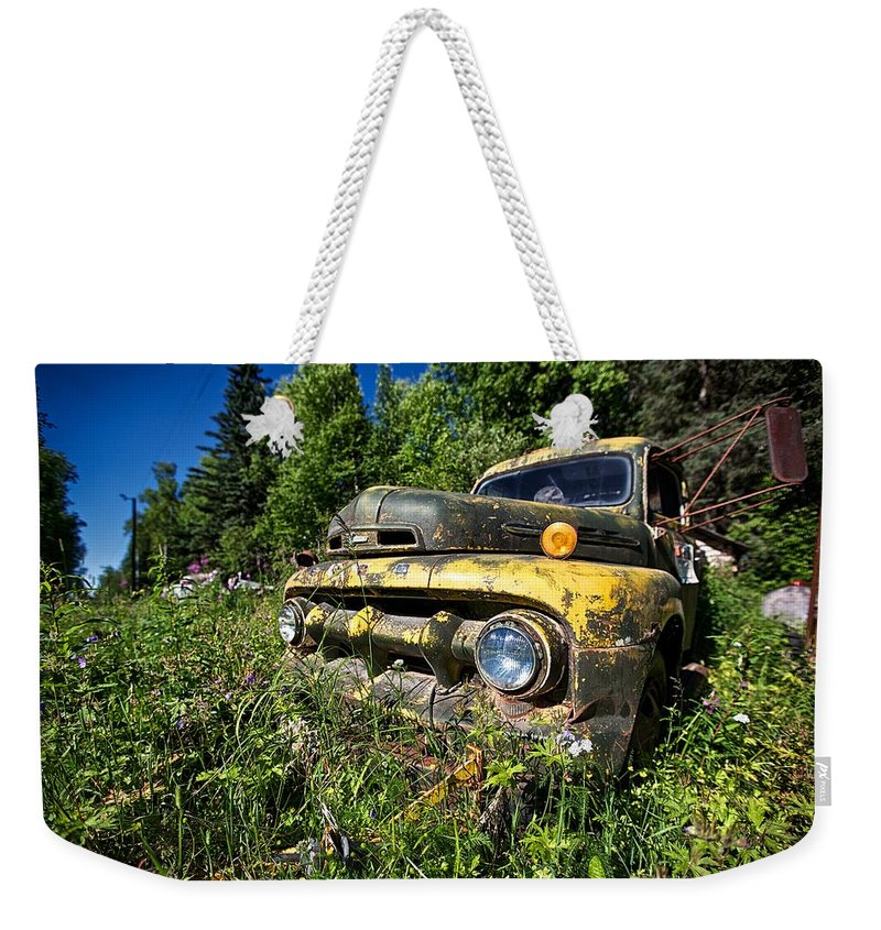 Ford Weekender Tote Bag featuring the photograph Fords View by Ed Boudreau
