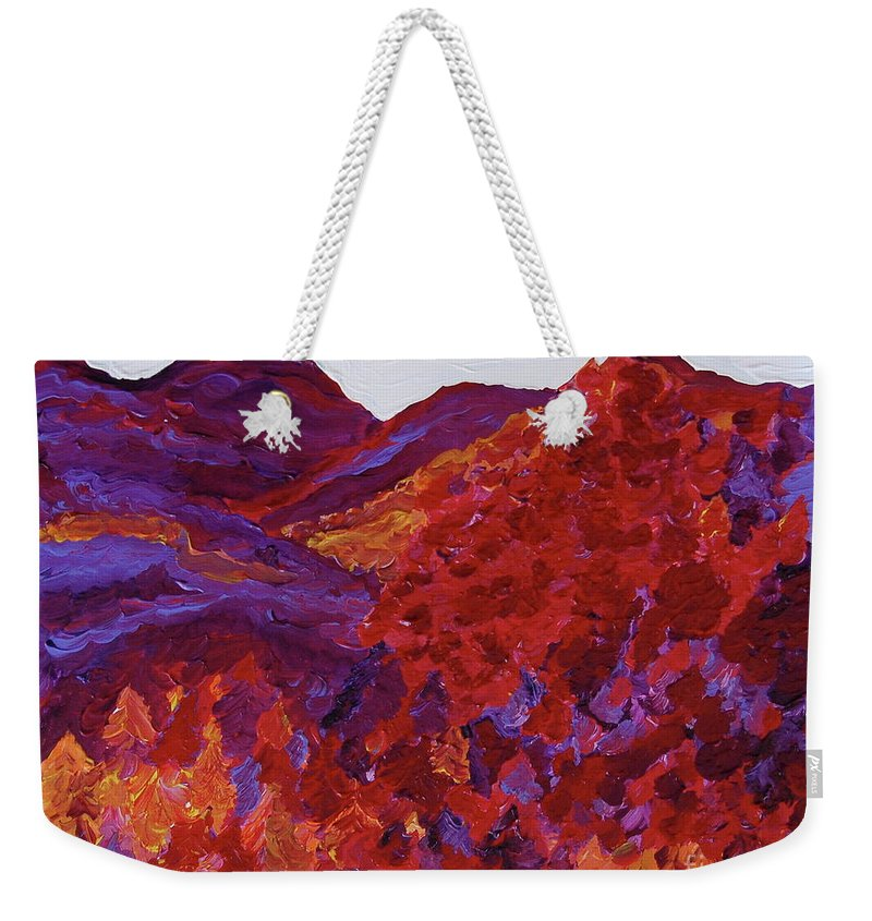 Landscape Weekender Tote Bag featuring the painting Forest Fantasy By Jrr by First Star Art
