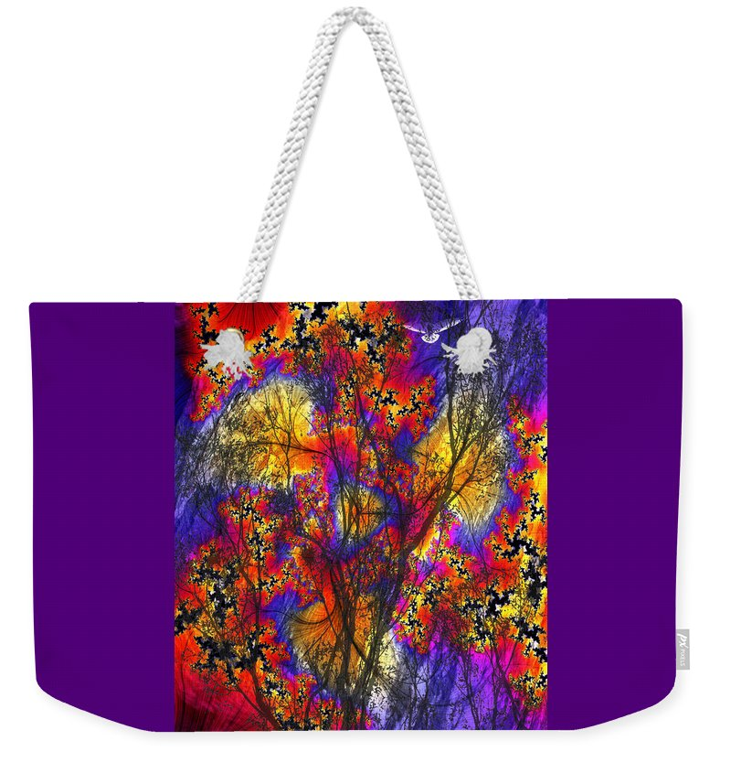 Forest Fire Weekender Tote Bag featuring the digital art Forest Fire by Lisa Yount