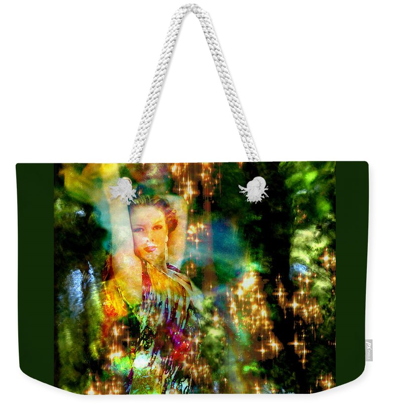 Forest Weekender Tote Bag featuring the digital art Forest Goddess 4 by Lisa Yount
