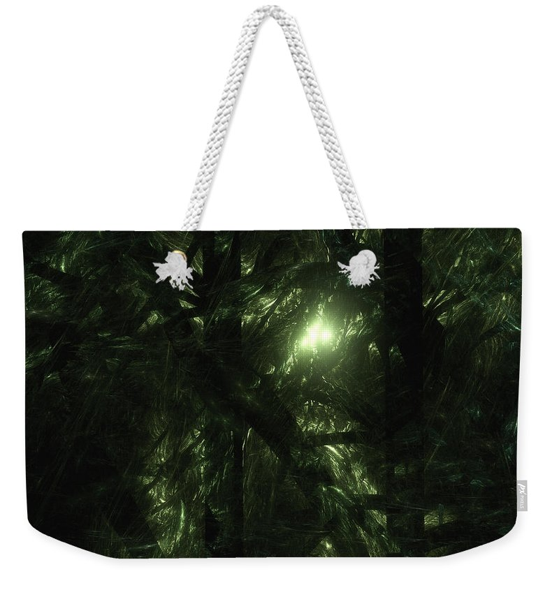 Fractal. Forest Weekender Tote Bag featuring the digital art Forest Light by GJ Blackman